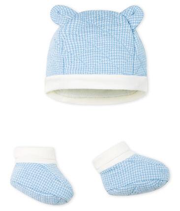 Set muts en babyschoentjes jongens van gewatteerde tubic. set .