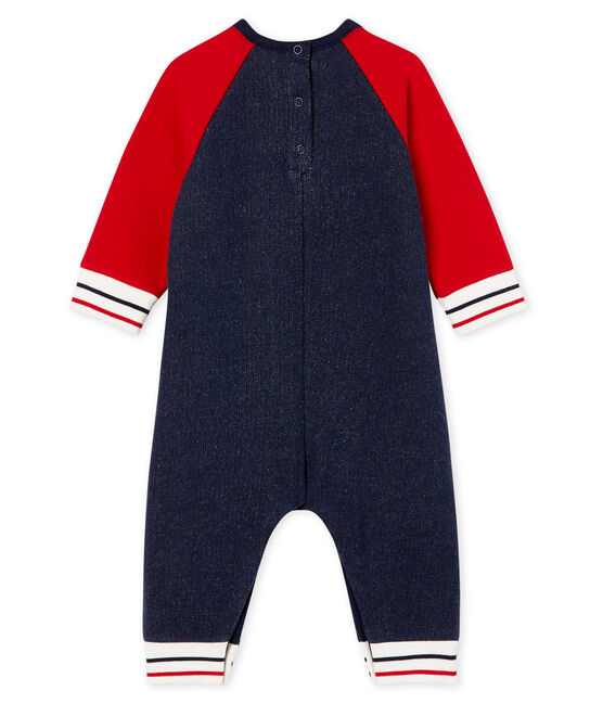 Combinaison longue bébé garçon en molleton bleu Smoking / rouge Terkuit