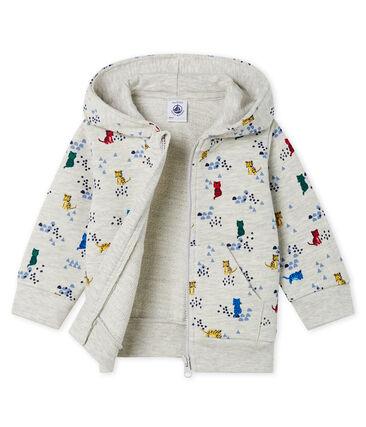 Sweatshirt met capuchon van molton met print babyjongen grijs Beluga / wit Multico