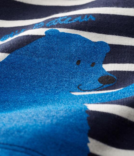 T-shirt lange mouwen met streep babyjongen blauw Smoking / wit Marshmallow