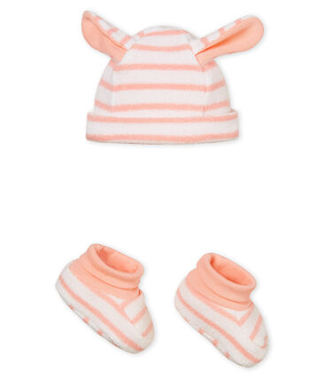 Bonnet et chaussons bébé mixte rayés lot .