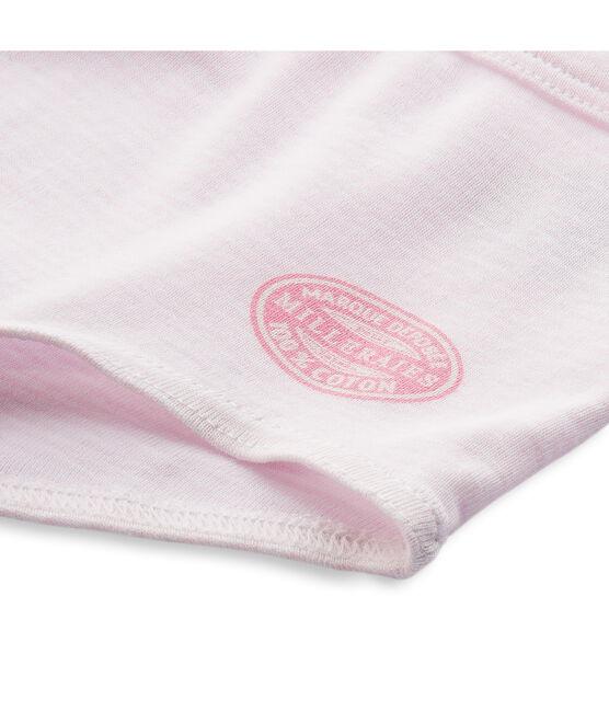 Meisjesboxershort met milleraies-strepen roze Vienne / wit Ecume