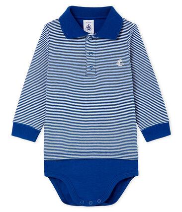 Polobody met milleraies streep babyjongen blauw Limoges / wit Marshmallow