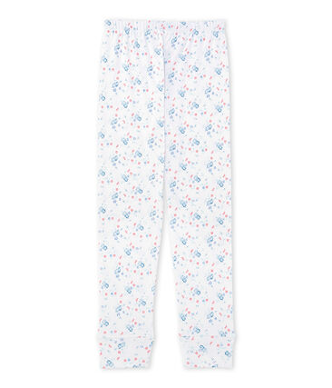 Mix & Match pyjamabroek met print wit Ecume / blauw Bleu