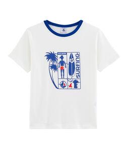 T-shirt voor jongens wit Marshmallow / blauw Surf