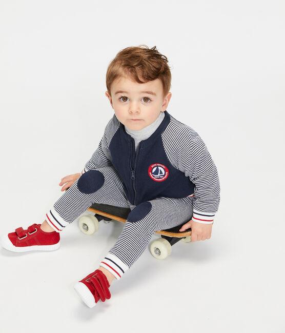 Cardigan zippé bébé garçon en tubique bleu Smoking / blanc Marshmallow