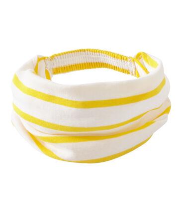 Gestreepte meisjesbandana wit Marshmallow / geel Shine