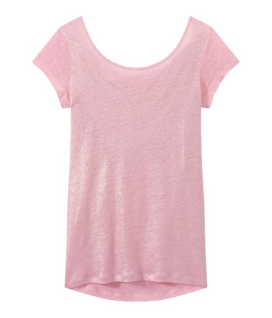 Linnen dames-T-shirt met wijde ruguitsnijding en iriserend effect roze Babylone / grijs Argent