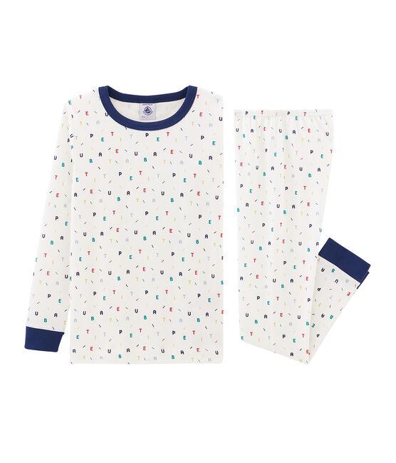 Jongenspyjama met nauwsluitende pasvorm van gebreide stof wit Marshmallow / wit Multico