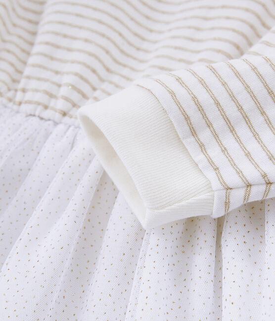 Meisjesjurk met lange mouwen wit Marshmallow / geel Or