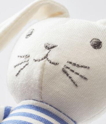 Konijnknuffel met rammelaar blauw Smoking / wit Marshmallow