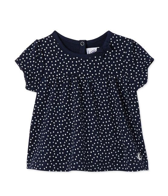 T-shirt met print voor babymeisjes blauw Smoking / wit Lait