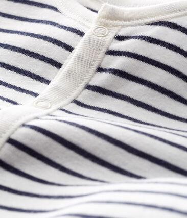 Combitas baby van gebreide stof wit Marshmallow / blauw Smoking