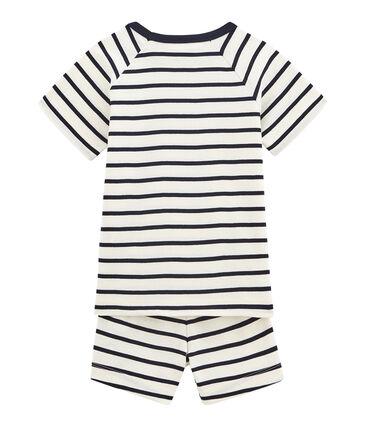 Korte pyjama van gebreide stof voor jongens wit Marshmallow / blauw Smoking