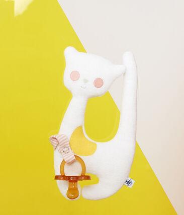 Doudou porte tétine bébé fille en bouclette éponge blanc Marshmallow
