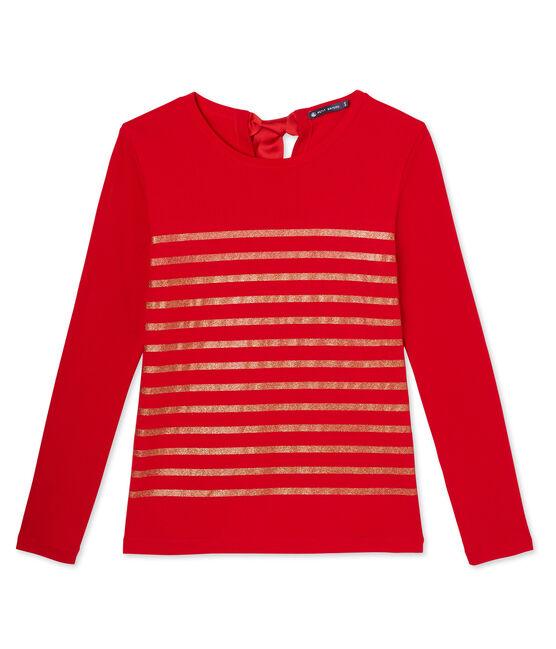 T-shirt femme à rayures paillettes rouge Froufrou