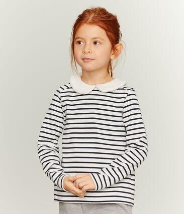 Marinière manches longues enfant fille blanc Marshmallow / bleu Smoking