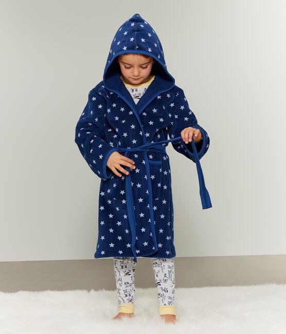 Kinderkamerjas van fleece blauw Medieval / wit Marshmallow