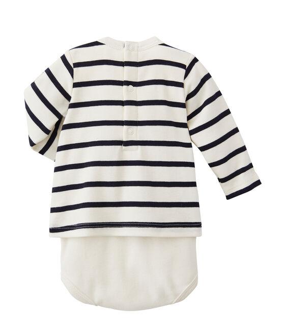 Body t-shirt bébé rayé beige Coquille / bleu Abysse