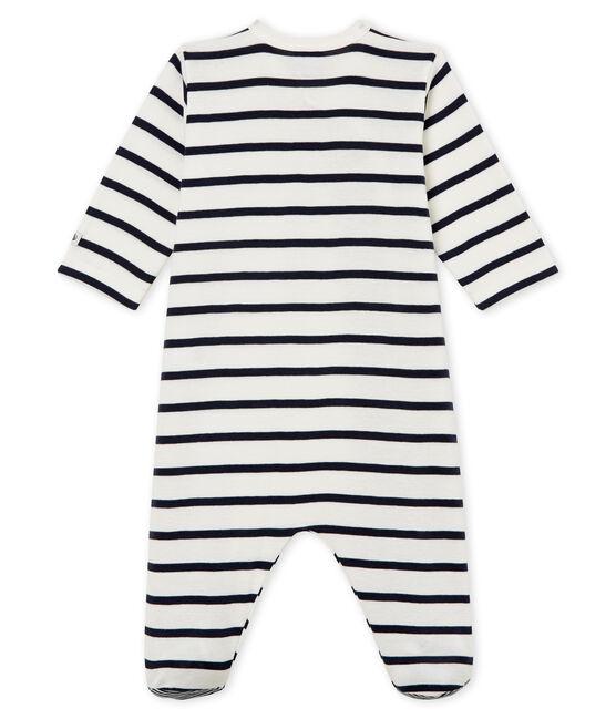 Slaappakje baby van ribstof wit Marshmallow / blauw Smoking
