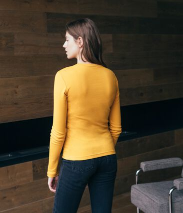 Tee shirt manches longues iconique femme jaune Boudor