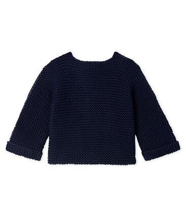 Cardigan van wol en katoen point mousse babymeisje blauw Smoking