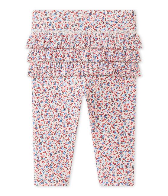 Legging met dessin voor babymeisjes wit Marshmallow / rood Terkuit