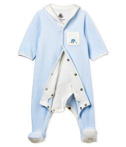 Bodyjama van velours met fijne streepjes voor babyjongen