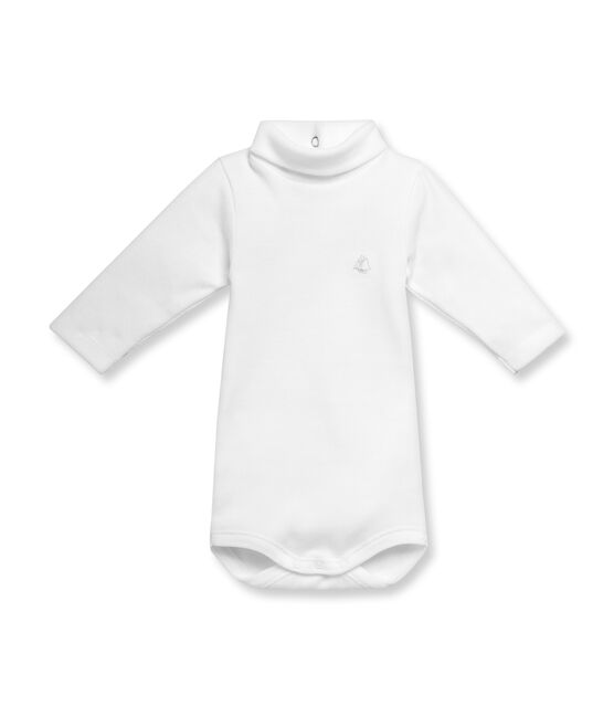 Body bébé mixte col roulé manches longues en coton gratté blanc Ecume