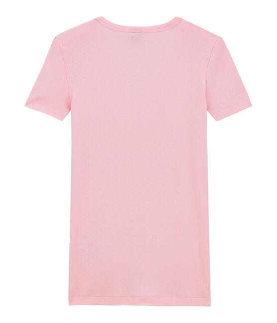 Dames-T-shirt met V-hals in origineel geribd katoen roze Babylone
