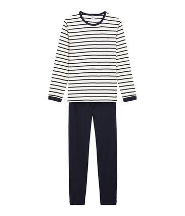 Pyjama garçon en côte blanc Marshmallow / bleu Smoking