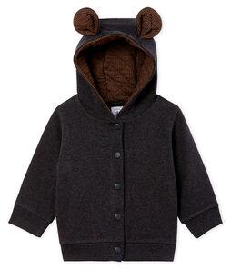 Sweatshirt met capuchon babyjongen van ribstof elastaan grijs City Chine
