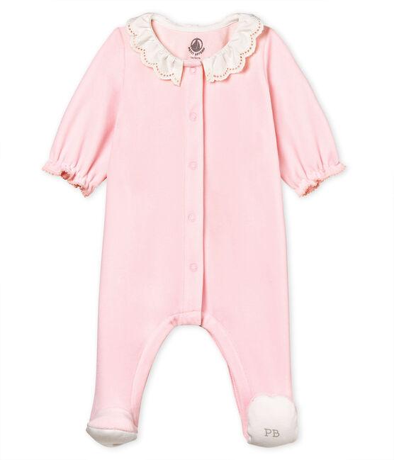 Pyjama van katoenverlours voor babymeisjes roze Vienne