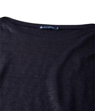 Dames T-shirt met lange mouwen in gelakt linnen