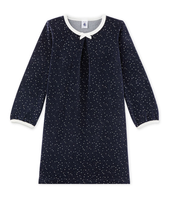 Chemise de nuit fille en bouclette velours bleu Smoking / gris Argent