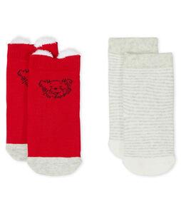 Set van 2 paar sokken voor baby mixt rood Terkuit