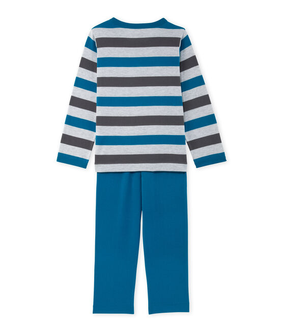 Gestreepte jongenspyjama in jersey grijs Poussiere / grijs Maki