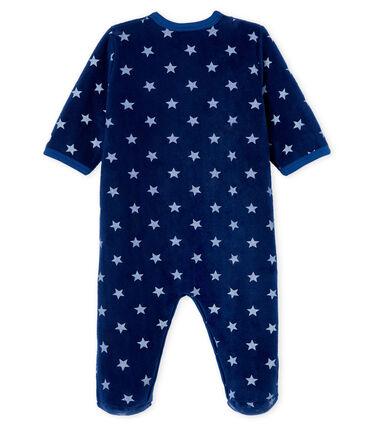 Fleece slaappakje babyjongen blauw Medieval / wit Marshmallow