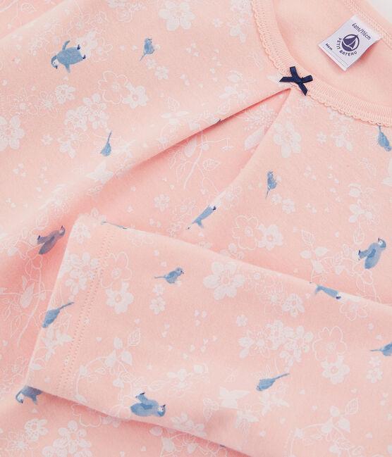 Roze meisjespyjama met pinguïn print van dubbelzijdig jersey roze Minois / wit Multico