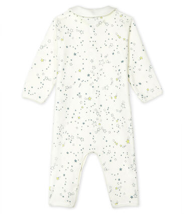 Dors bien sans pieds bébé garçon en côte blanc Marshmallow / blanc Multico