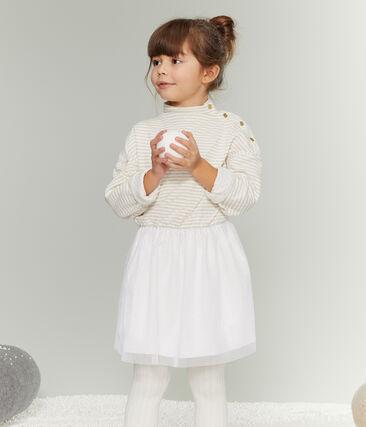 Robe manches longues enfant fille blanc Marshmallow / jaune Or