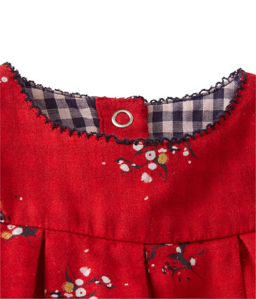 Jurk in tubic met dessin voor babymeisjes rood Froufrou / wit Multico