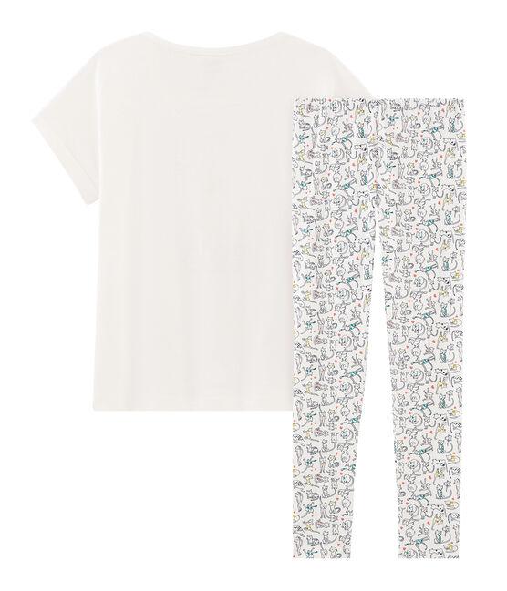 Meisjespyjama van gebreide stof wit Marshmallow / wit Multico