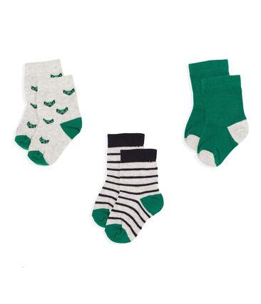 Set van 3 paar sokken van katoenen jersey voor baby jongen grijs Beluga