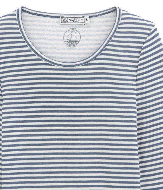 dames• tee-shirtmet lange mouwen in katoen/wol blauw Turquin / wit Marshmallow