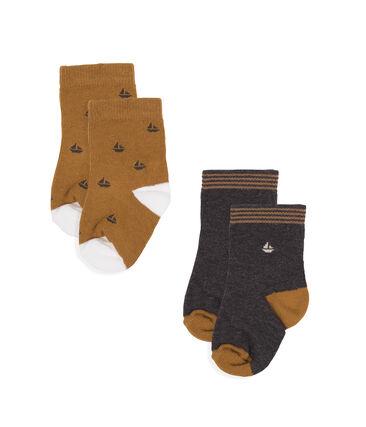 Set van 2 paar sokken voor baby jongen van katoenjersey. grijs City Chine