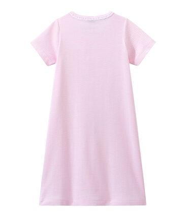 Chemise de nuit fille rayée milleraies rose Babylone / blanc Ecume