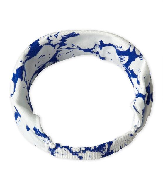 Fichu fille imprimé blanc Marshmallow / bleu Perse
