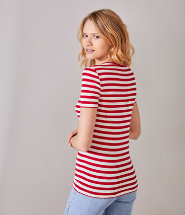 Gestreept dames-T-shirt met V-hals in origineel geribd katoen rood Terkuit / wit Marshmallow