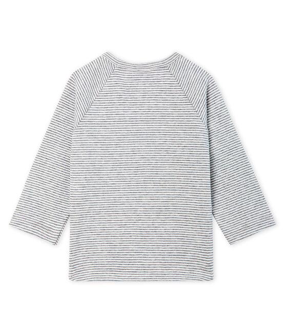 T-shirt met lange milleraies mouwen babyjongen grijs Subway / wit Marshmallow
